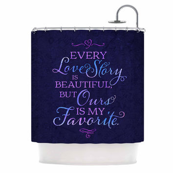 "Noonday Design ""Every Love Story Is Beautiful"" Blue Purple Shower Curtain"