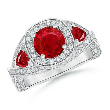 Diamond Halo Ruby Criss Cross Ring