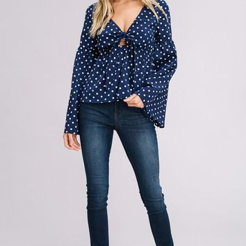 Polka Dot Bell Sleeve Top with Cut Out Knot Front
