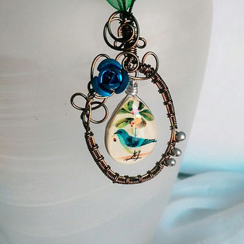 Blue Bird Necklace, Bird Pendant, Vintage Bronze Wire Woven Pendant, Nature Jewelry, Bird Jewelry, Gift for Her.