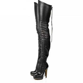Women Boots Stretch PU Leather Over The Knee High Sexy Ladies Party High Heels Platform Shoes Woman Black