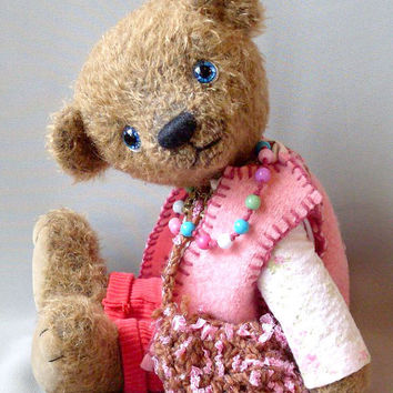 "Pattern of  artist teddy bear Ayushi 12""  or 18"" in PDF format, OOAK, pink, beige, mohair,  jointed"