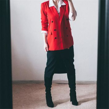 Women Blazer Double-Breasted Button Notched Work Office Suits Outwear