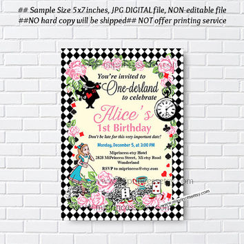 Alice in wonderland invitation, Birthday Invites, Alice Mad tea party first birthday  1st 2nd 3rd 4th 5th 6th 7th 8th 9th 10th - card 565