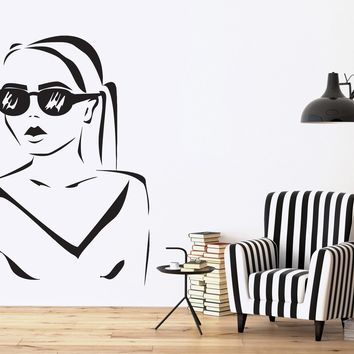 Vinyl Decal Wall Sticker Silhouette Beautiful Girl Hairstyle Sunglasses  Unique Gift (n447)