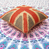 Decorative Pillow Cases Wool Jute Materal Square Cushion Covers Home Decor Traditional Indian  British Flag Rough Looking Pillow Cases