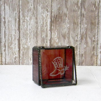 Western Stained Glass Jewelry Box, Keepsake Box, Engraved with Cowboy Boot, Mountain, Rustic, Country Western, Cowboy, Red, Rust, 3 x 3""