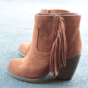 sbicca - marimba suede ankle boots with fringe - tan