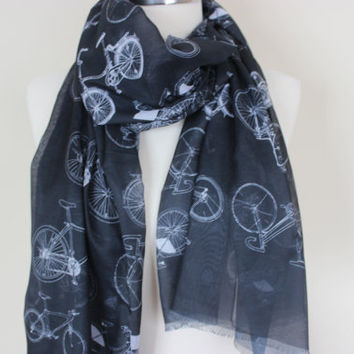 Bicycle Scarf, Bike Scarf, Bicycle Print Shawl, Bike Scarf, Bike To Work Scarf, Biking Scarf, Bike Pattern Scarf, Courier Scarf Bicycle Lady