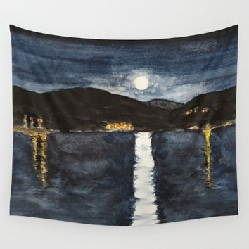 full moon by the sea Wall Tapestry by Colorful Nature