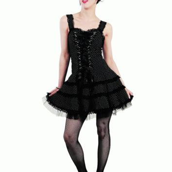Hell Bunny – Significant Mystery Harley Polka Dot Dress In Black/White Dot Print | Thirteen Vintage