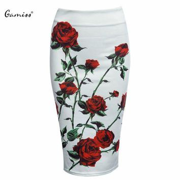 ONETOW 2016 Bodycon Women Midi Skirt Brand Slim Hip Pencil Skirts Hot Sexy Vintage High Waist White Floral Print Ladies Jupe Skirts