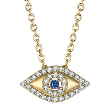 GuqiGuli Enhanced Blue Cubic Zirconia Diamond Eye Pendant Necklace in 14K Gold Plated and Silver