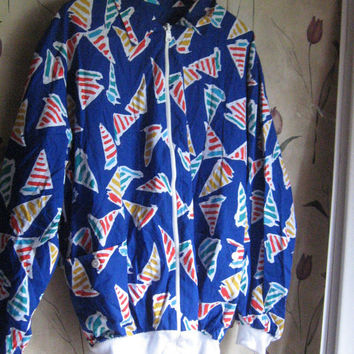 80s retro cotton reversible  windbreaker matching boxy shorts skater surfer beach  New w tag  sz 16