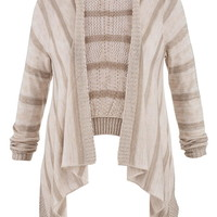 Plus Size - Open Stitch Back Blanket Cardigan - Beige