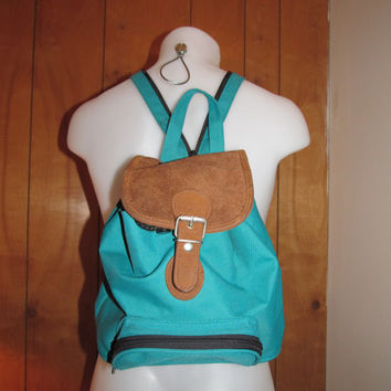 SALE! Backpack-  Turquoise Blue  with Suede  // Mens or Womens