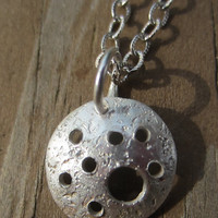 Starry Night Necklace (small), Silver Holey Pendant, Lunar Necklace, Hammered Silver Disc