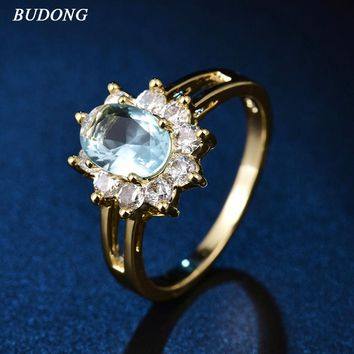 2017 BUDONG Romantic Flower Finger Band Gold Color Ring for Women Oval Light Blue Crystal Zircon Engagement Jewelry