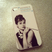 iPhone 5 Icon Audrey Hepburn Swarovski Quote Bling Case by VD5555