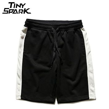 Black White Striped Shorts Hip Hip Men Casual Jogger Short Sweat pant Elastic Red Street wear Knee Short Cotton