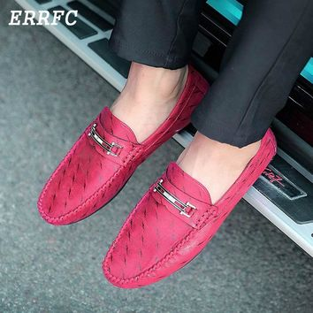 Men's Round Toe Slip-On Leisure PU Leather Driving Loafers