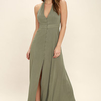 Lingering Thoughts Olive Green Halter Maxi Dress