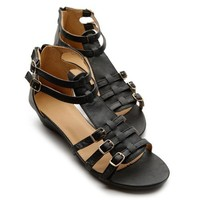 Ollio Womens Shoes Gladiator Wedge Low Heels Ankle-Strap Black Sandals