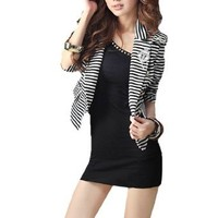 Amazon.com: Allegra K Woman Long Sleeve Mock Pockets Stripe Blazer Coat Black White XS: Clothing