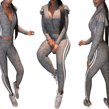 Gray Tracksuit with White Bands