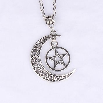Triple Moon  Necklaces Goddess Pendants Pentagram Choker