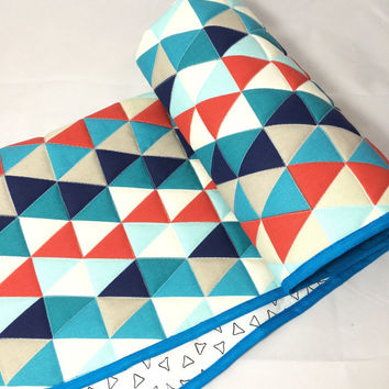 Baby Quilt, Baby Boy Quilt, Baby Quilt Handmade, Geometric Quilt, Blue and Red Quilt, Baby Blanket, Childs Quilt, Modern Baby Quilt, Nursery