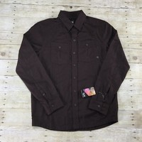 Mountain Hardwear Solid Flannel Twill Long Sleeve Button Up Shirt Mens Size Small
