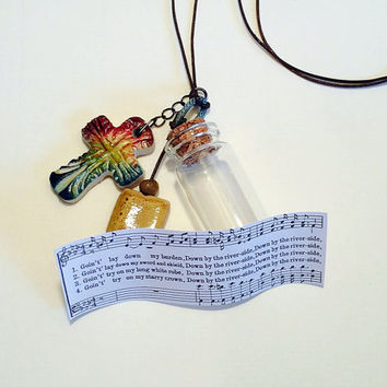 Gospel Necklace, Down By The River side, Spiritual, African American Hymn, Rustic Boho Colorful, Baptism, Unique Cross, Christian Jewelry
