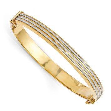 8mm Gold Tone Plated Sterling Silver & Glitter Hinged Bangle Bracelet