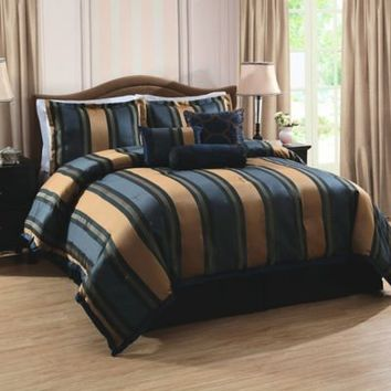 Midnight Stripe Comforter Set in Navy/Tan