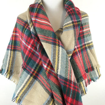 Blanket Scarf, Free Shipping in US, Zara inspired plaid oversized blanket scarf, Camel & Red tone plaid blanket scarves, red tartan blanket