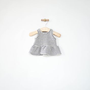 Peplum Tank in Navy Stripes
