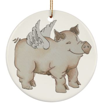 Flying Pig Christmas Ornament Painted by Deja Wolfe