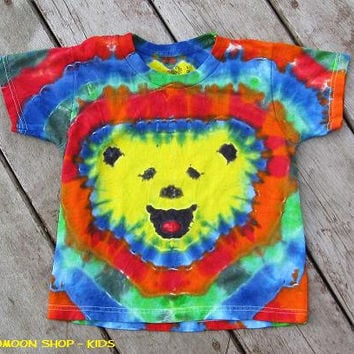 Yellow Smiley Bear Kids Tie Dye Shirt Small OOAK by Four20moon