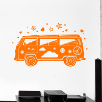 Vinyl Wall Decal Hippie Mobile Bus Peace Art Symbol Stickers Murals Unique Gift (ig4814)