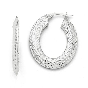 Leslies 14k White Gold Polished Diamond-cut Hoop Earrings