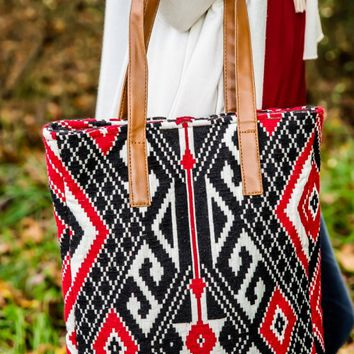 On My Way Tote-Red/Black