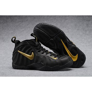 97e6b49c8c2 Nike Air Mens Foamposite Pro Hardaway Black Gold Sneaker
