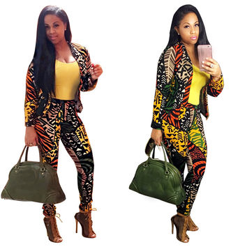 Multi-Color Abstract Print Blazer and Pants Set