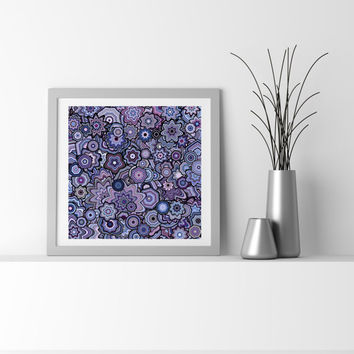 Purple Plum Particle Floral Stars Abstract Art. Limited edition Fine Art Giclee print, by San Francisco artist Kristin Henry Amethyst Orchid