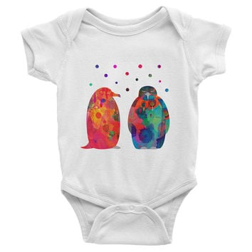 Baby Bodysuit,  penguins baby Onesuit, Infant Baby Rib Short Sleeve One-Piece Printing - American Apparel happy penguins baby Onesuit