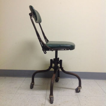 On Sale - Vintage 1930s Do More DoMore Office Chair Military Green Vinyl Upholstery