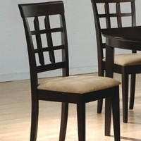 Coaster Contemporary Style Dining Chairs, Cappuccino Wood Finish, Set of 2