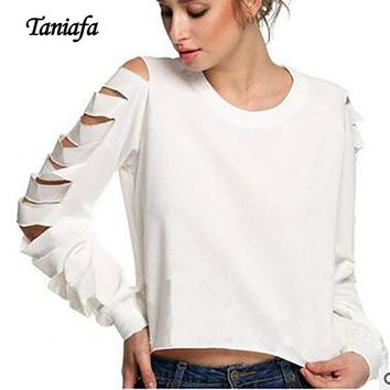 TANIAFA Solid Color Hole Long Sleeve Women T Shirts Tops Casual Irregular Hem Round Neck Crop Top Female T-shirt Poleras Mujer