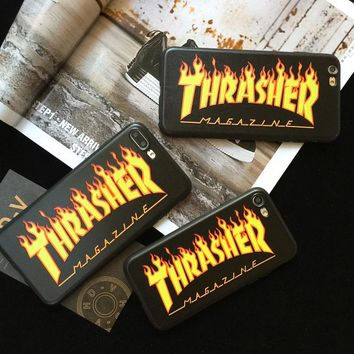 THRASHER case for iphone 6 6plus 6s plus 7 7plus 8 X EA Fashion street Trend brand Soft silicone phone cover durable coque